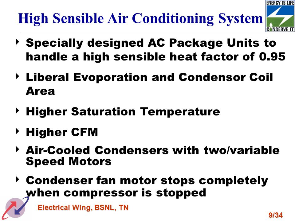 9/34 Electrical Wing, BSNL, TN High Sensible Air Conditioning System Specially designed AC Package Units to handle a high sensible heat factor of 0.95