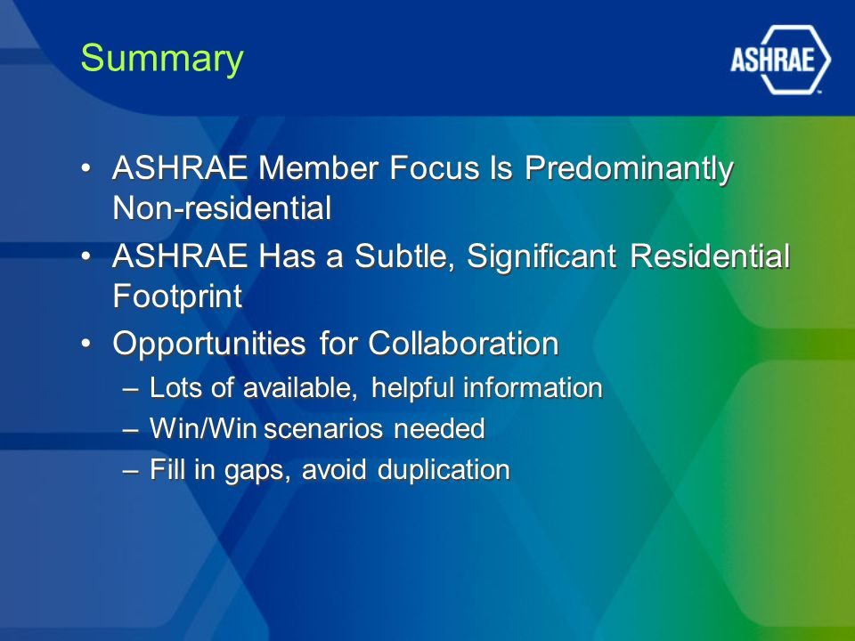 Summary ASHRAE Member Focus Is Predominantly Non-residential ASHRAE Has a Subtle, Significant Residential Footprint Opportunities for Collaboration –L
