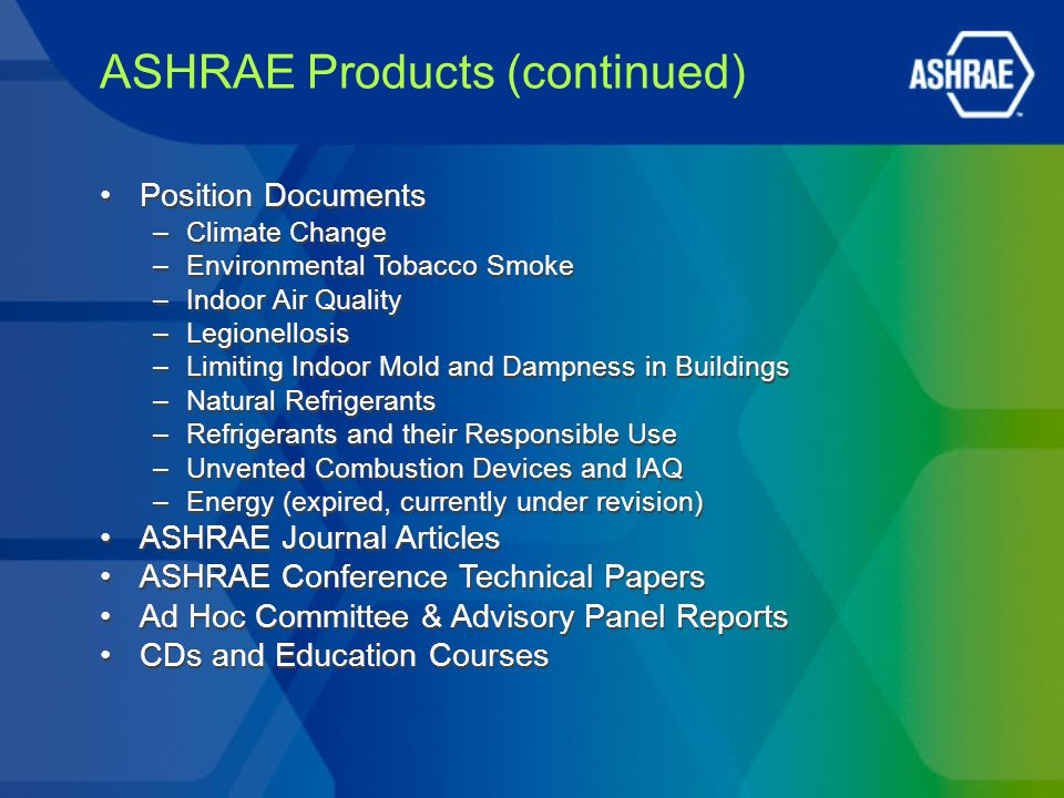 ASHRAE Products (continued) Position Documents –Climate Change –Environmental Tobacco Smoke –Indoor Air Quality –Legionellosis –Limiting Indoor Mold and Dampness in Buildings –Natural Refrigerants –Refrigerants and their Responsible Use –Unvented Combustion Devices and IAQ –Energy (expired, currently under revision) ASHRAE Journal Articles ASHRAE Conference Technical Papers Ad Hoc Committee & Advisory Panel Reports CDs and Education Courses Position Documents –Climate Change –Environmental Tobacco Smoke –Indoor Air Quality –Legionellosis –Limiting Indoor Mold and Dampness in Buildings –Natural Refrigerants –Refrigerants and their Responsible Use –Unvented Combustion Devices and IAQ –Energy (expired, currently under revision) ASHRAE Journal Articles ASHRAE Conference Technical Papers Ad Hoc Committee & Advisory Panel Reports CDs and Education Courses