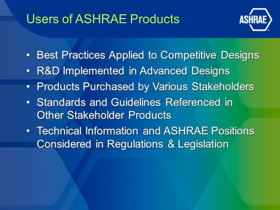 Users of ASHRAE Products Best Practices Applied to Competitive Designs R&D Implemented in Advanced Designs Products Purchased by Various Stakeholders Standards and Guidelines Referenced in Other Stakeholder Products Technical Information and ASHRAE Positions Considered in Regulations & Legislation Best Practices Applied to Competitive Designs R&D Implemented in Advanced Designs Products Purchased by Various Stakeholders Standards and Guidelines Referenced in Other Stakeholder Products Technical Information and ASHRAE Positions Considered in Regulations & Legislation