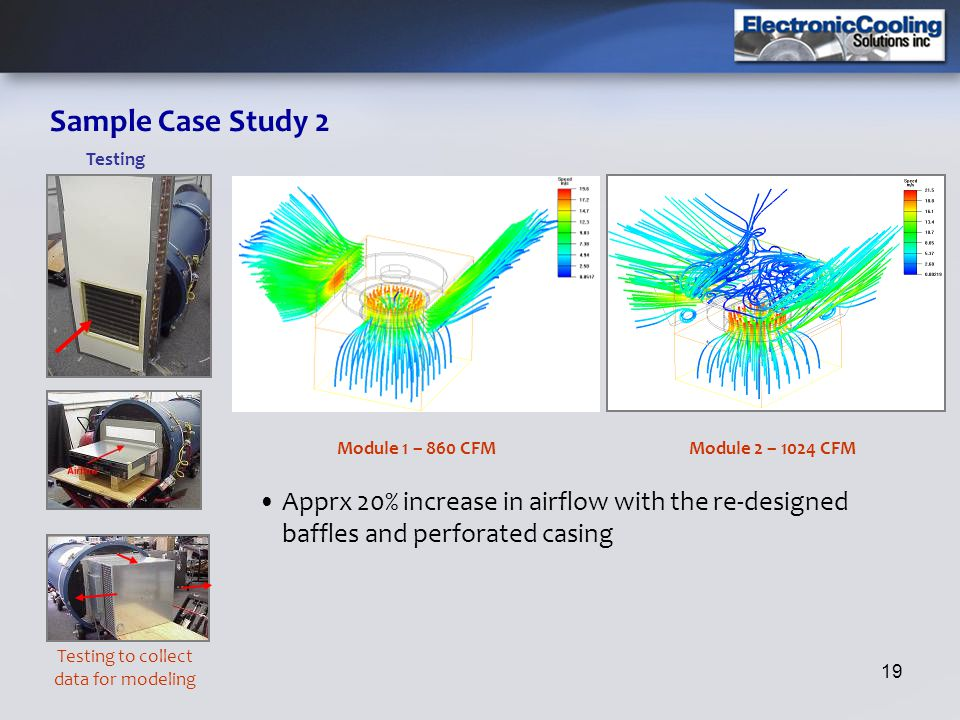 19 Sample Case Study 2 Apprx 20% increase in airflow with the re-designed baffles and perforated casing Module 1 – 860 CFM Testing Testing to collect