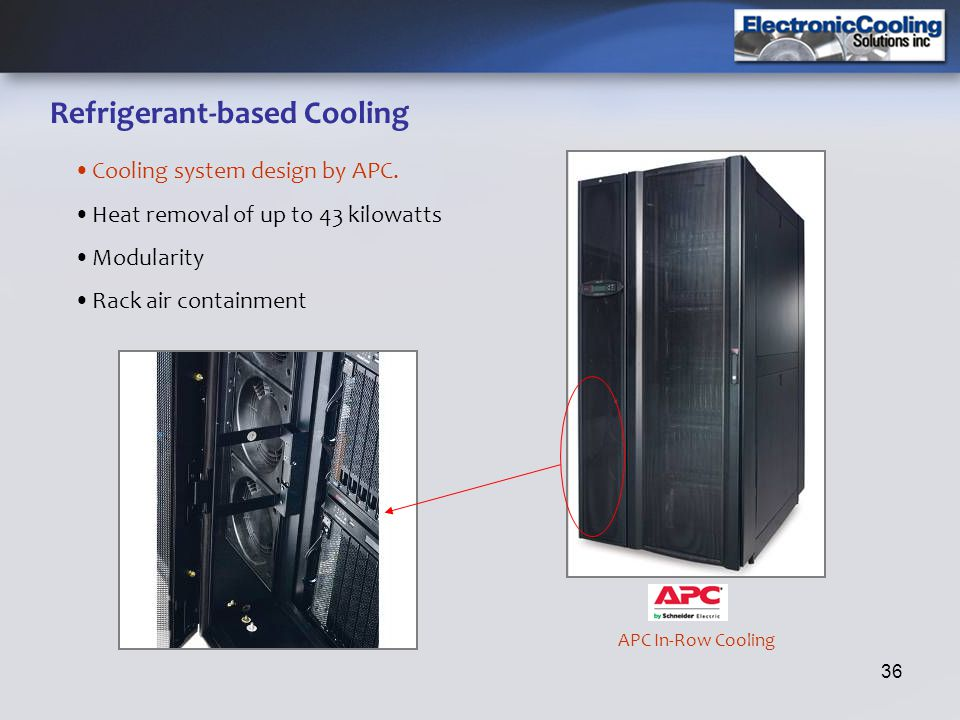 36 Refrigerant-based Cooling Cooling system design by APC. Heat removal of up to 43 kilowatts Modularity Rack air containment APC In-Row Cooling