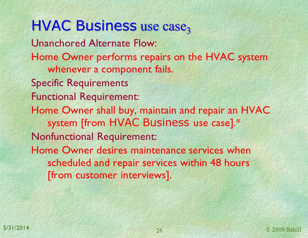 HVAC Business use case 2 Main Success Scenario: 1. Home Owner buys an air conditioning system on average every ten years. 2. Home Owner buys a heating
