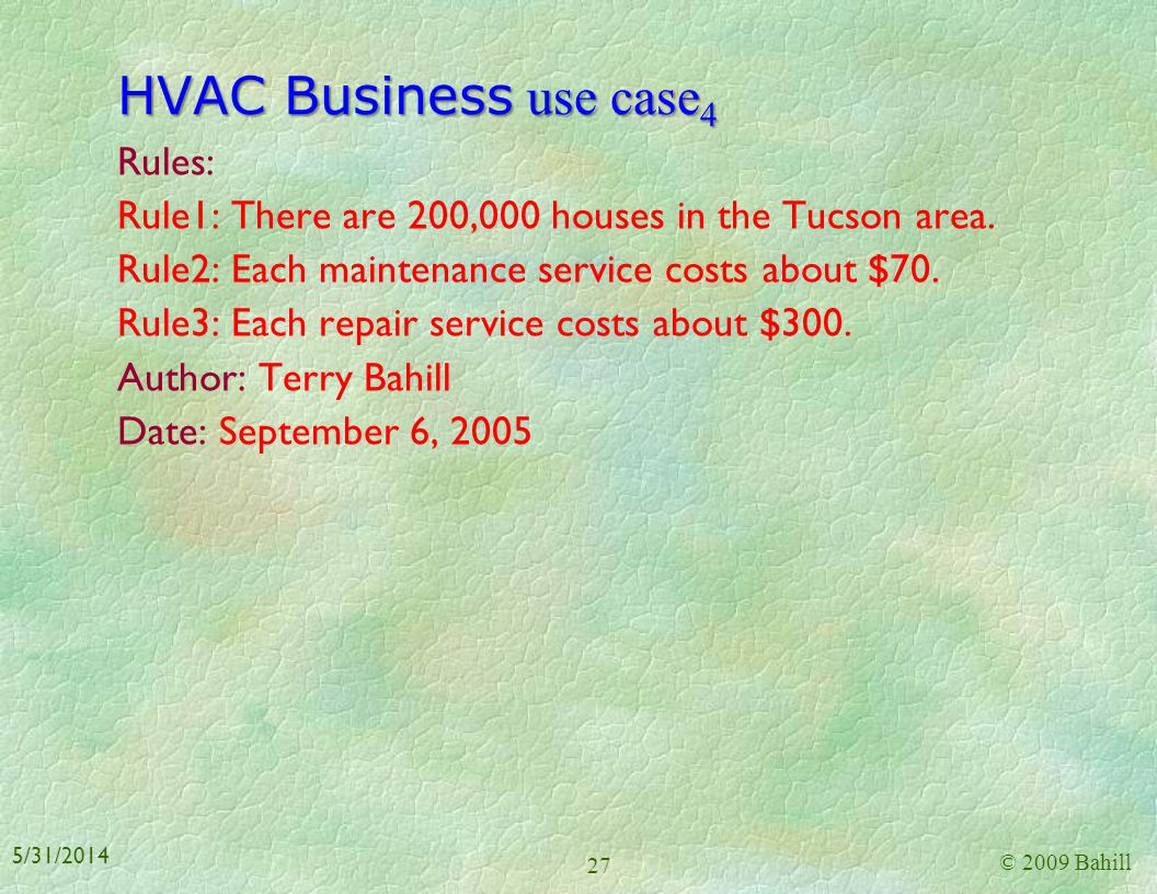 HVAC Business use case 3 Unanchored Alternate Flow: Home Owner performs repairs on the HVAC system whenever a component fails. Specific Requirements F