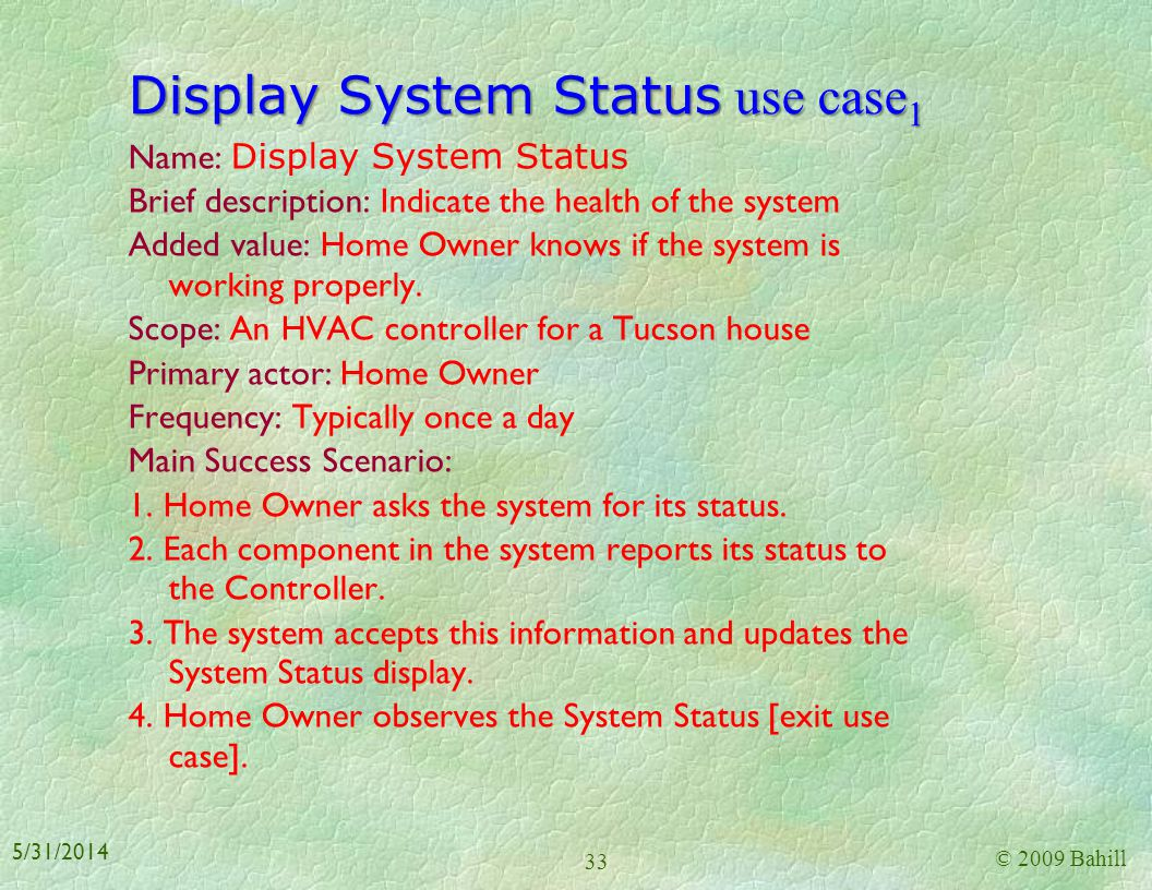 Regulate Temperature use case 3 Specific Requirements Functional Requirements: 1. The system shall be capable of turning the AC on and off [from Regul