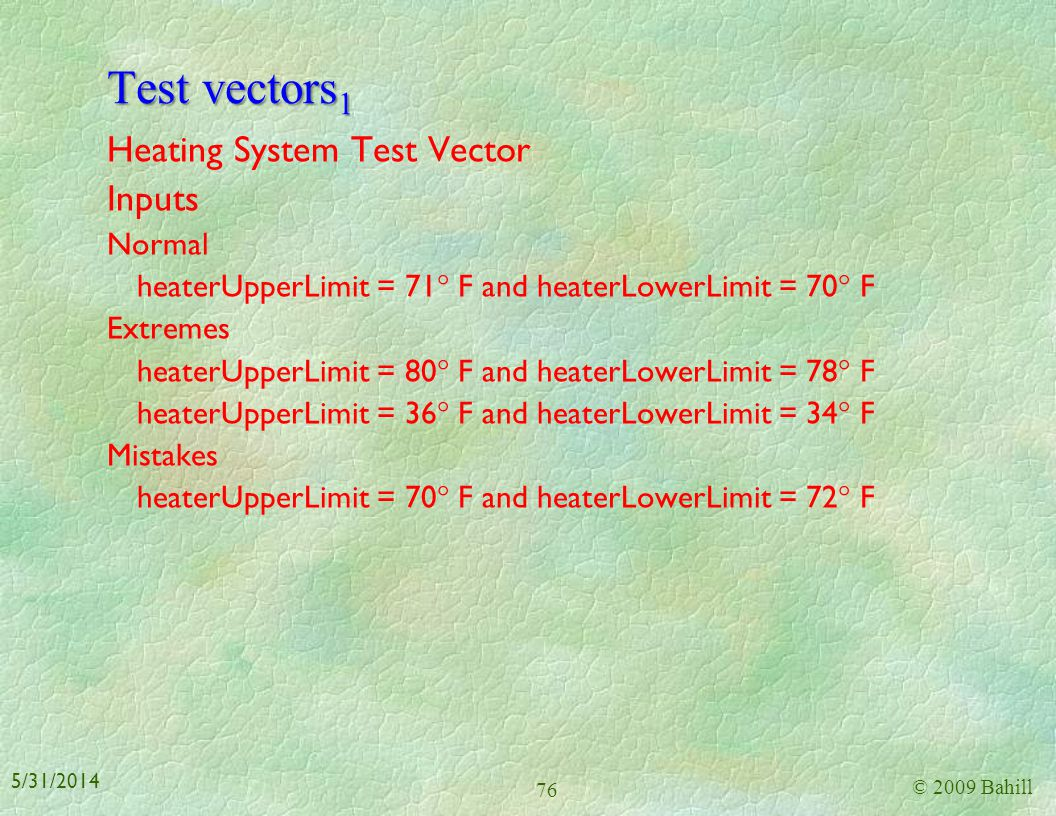 Verification 1 There are three common techniques for testing systems test vectors (input/output behavior) system experiments (state-based) instances o