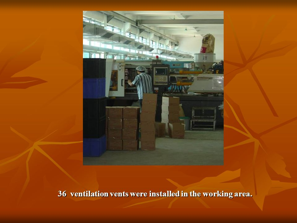 36 ventilation vents were installed in the working area.