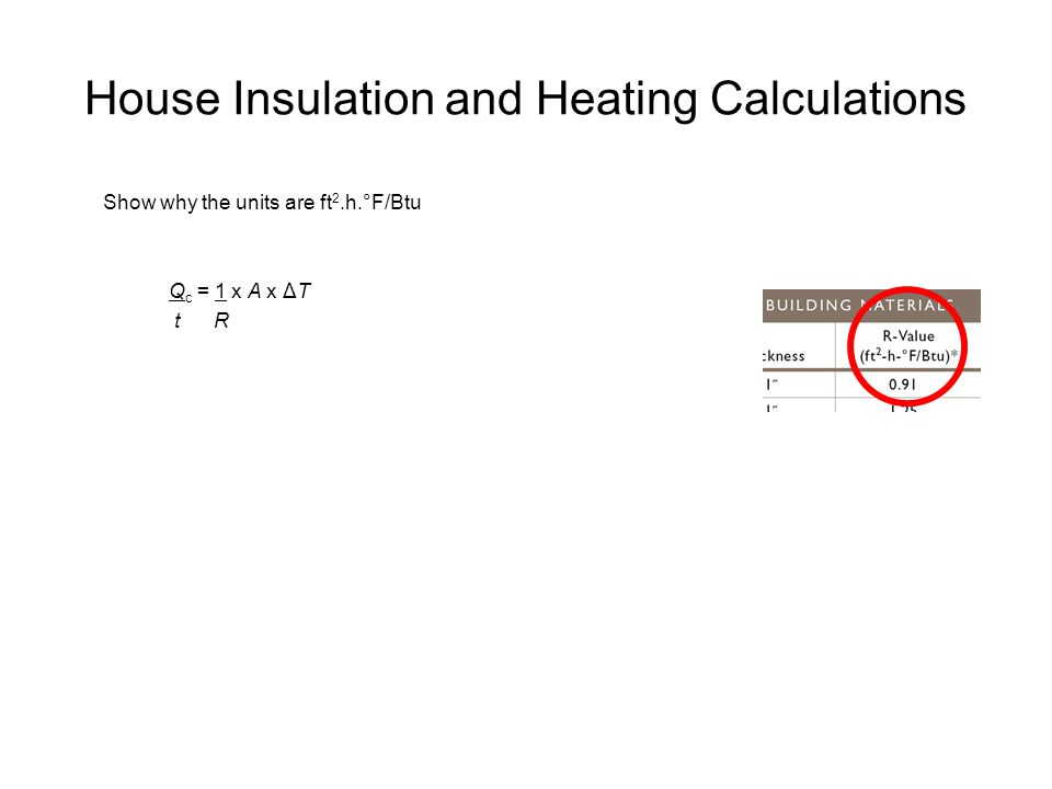 House Insulation and Heating Calculations Show why the units are ft 2.h.°F/Btu Q c = 1 x A x ΔT t R