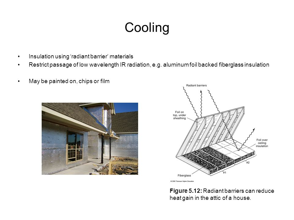 Cooling Insulation using radiant barrier materials Restrict passage of low wavelength IR radiation, e.g. aluminum foil backed fiberglass insulation Ma