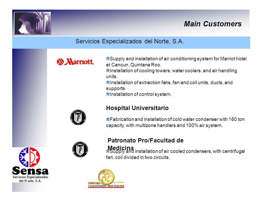 Main Customers Servicios Especializados del Norte, S.A. Supply and installation of air conditioning system for Marriot hotel at Cancun, Quintana Roo.