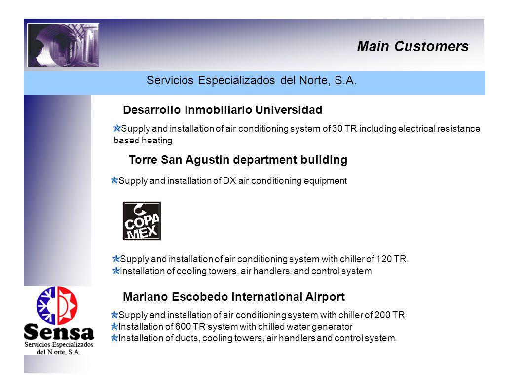 Main Customers Servicios Especializados del Norte, S.A. Desarrollo Inmobiliario Universidad Supply and installation of air conditioning system of 30 T
