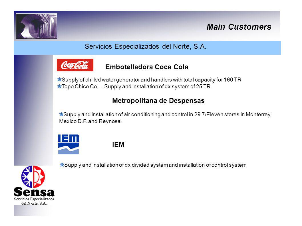 Main Customers Servicios Especializados del Norte, S.A. Embotelladora Coca Cola Supply of chilled water generator and handlers with total capacity for