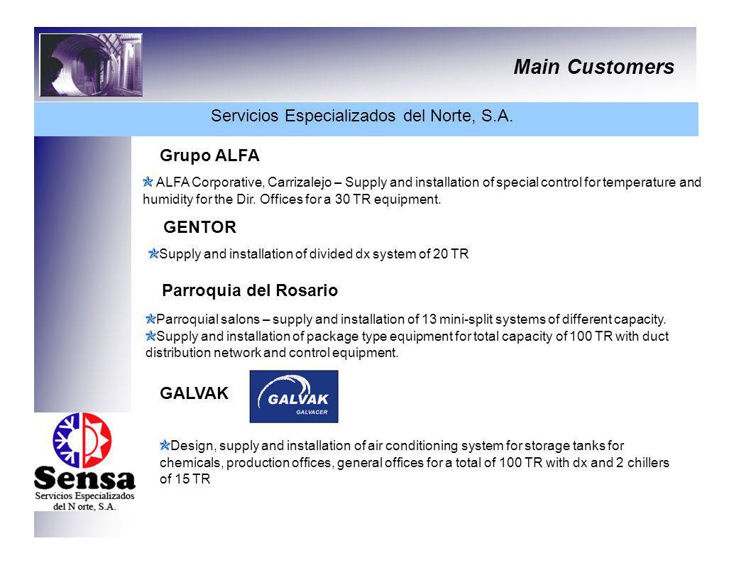 Main Customers Servicios Especializados del Norte, S.A. Grupo ALFA ALFA Corporative, Carrizalejo – Supply and installation of special control for temp