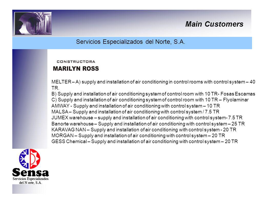 Main Customers Servicios Especializados del Norte, S.A. MELTER – A) supply and installation of air conditioning in control rooms with control system –