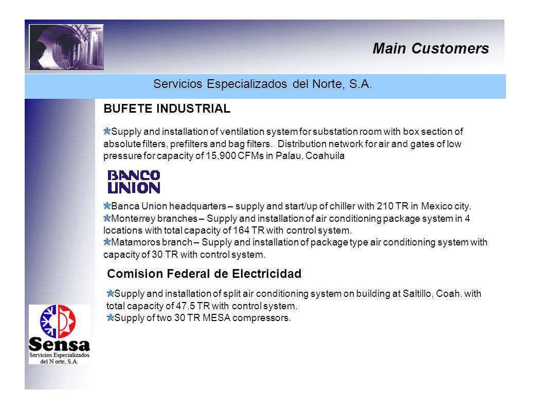 Main Customers Servicios Especializados del Norte, S.A. BUFETE INDUSTRIAL Supply and installation of ventilation system for substation room with box s