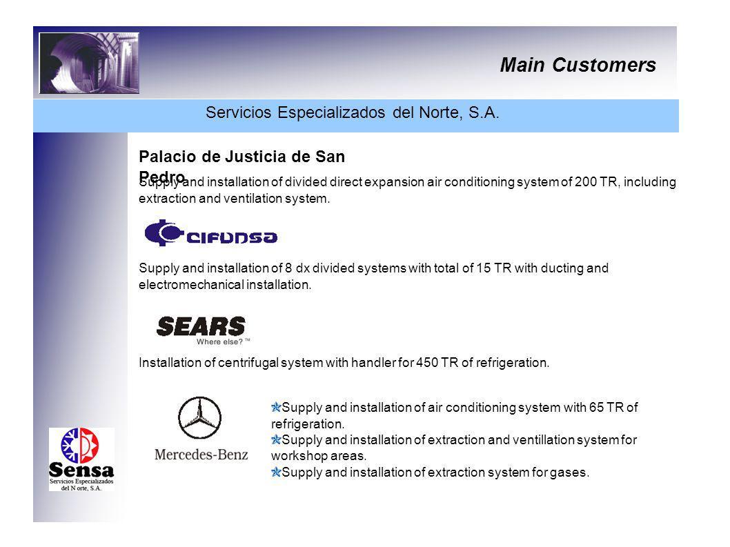 Main Customers Servicios Especializados del Norte, S.A. Palacio de Justicia de San Pedro Supply and installation of divided direct expansion air condi