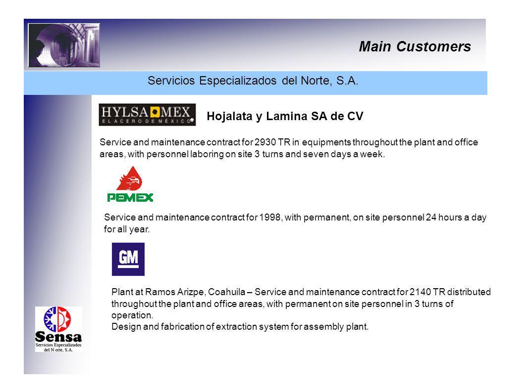 Main Customers Servicios Especializados del Norte, S.A. Hojalata y Lamina SA de CV Service and maintenance contract for 2930 TR in equipments througho