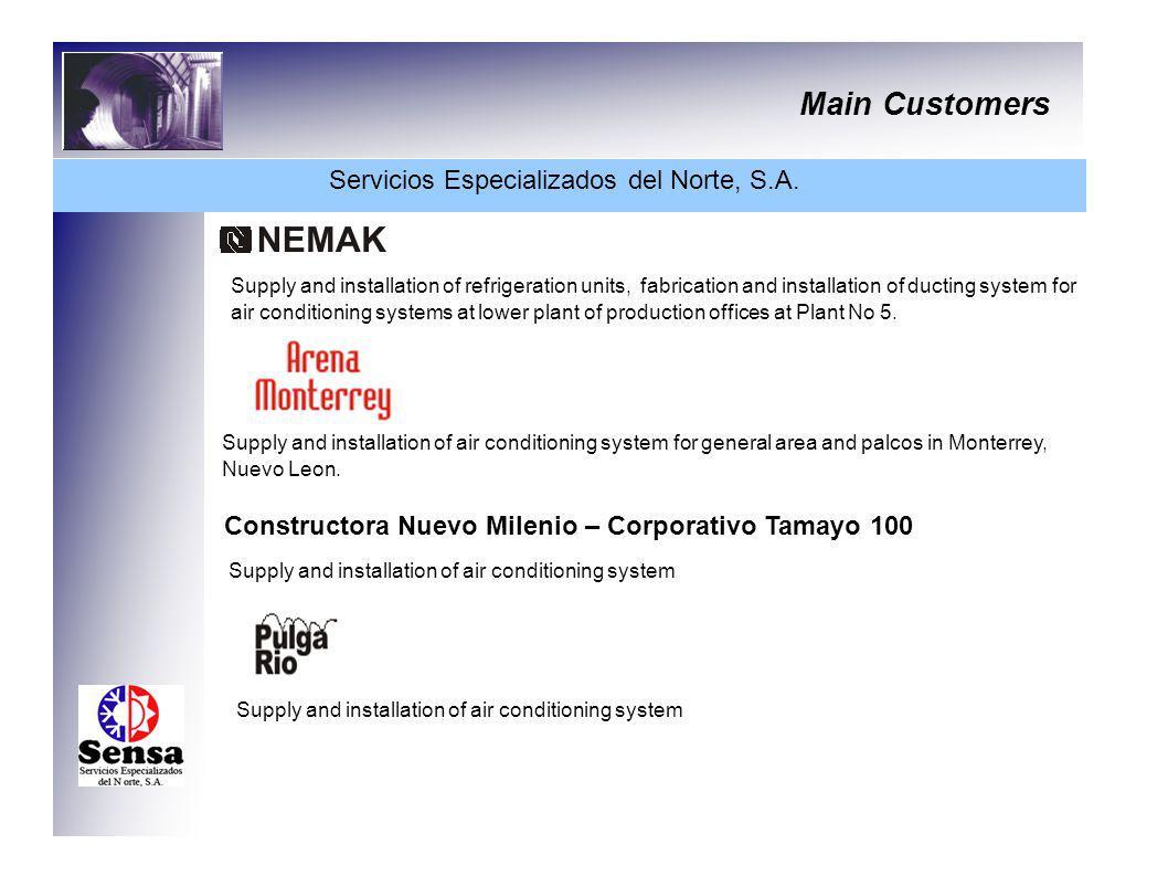 Main Customers Servicios Especializados del Norte, S.A. Supply and installation of refrigeration units, fabrication and installation of ducting system