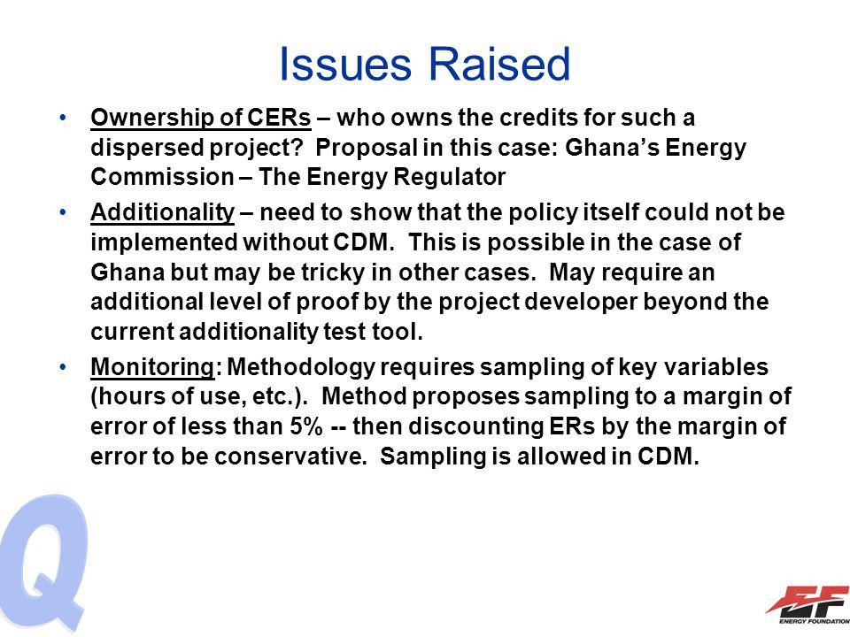 Issues Raised Ownership of CERs – who owns the credits for such a dispersed project.