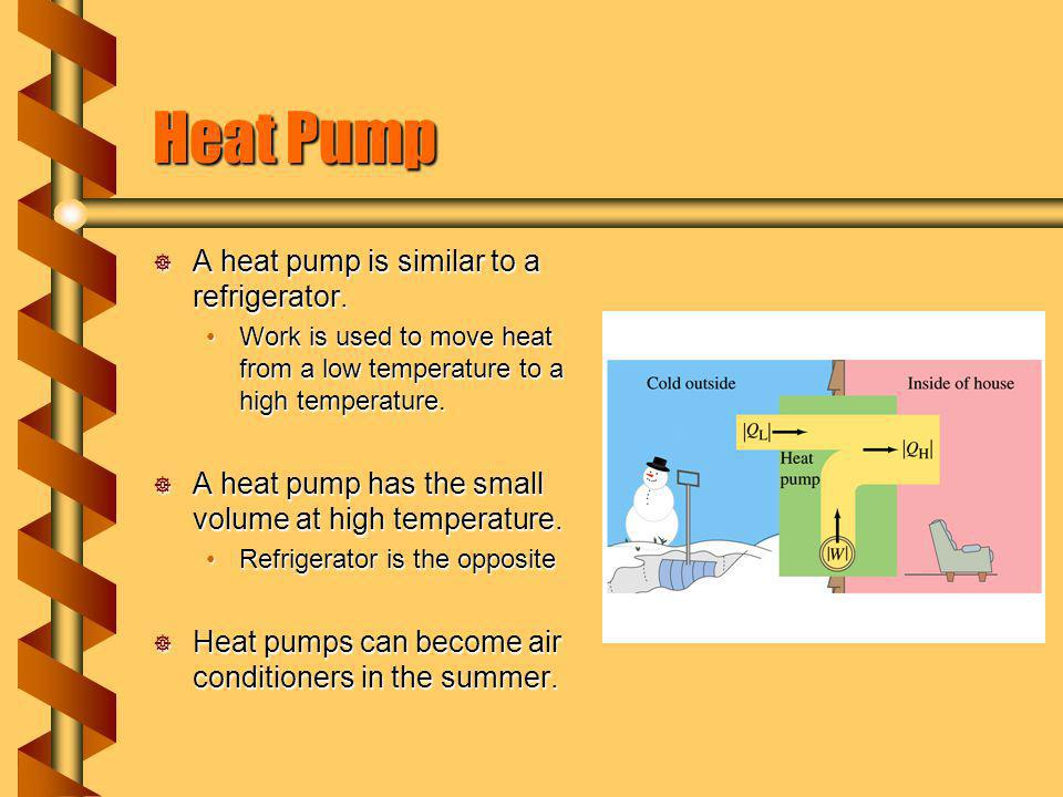 Heat Pump A heat pump is similar to a refrigerator.