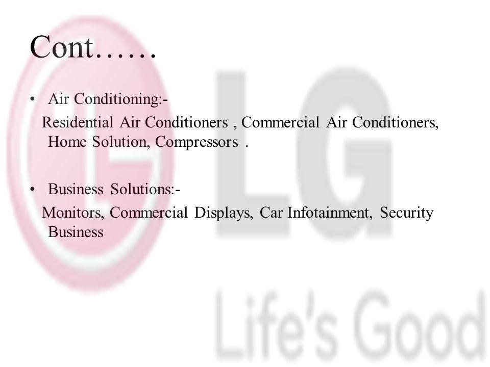 Cont…… Air Conditioning:- Residential Air Conditioners, Commercial Air Conditioners, Home Solution, Compressors.