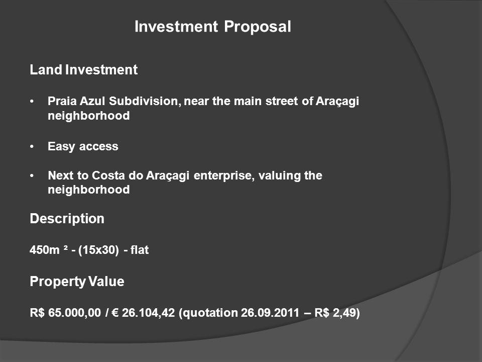 Land Investment Praia Azul Subdivision, near the main street of Araçagi neighborhood Easy access Next to Costa do Araçagi enterprise, valuing the neighborhood Description 450m ² - (15x30) - flat Property Value R$ 65.000,00 / 26.104,42 (quotation 26.09.2011 – R$ 2,49) Investment Proposal