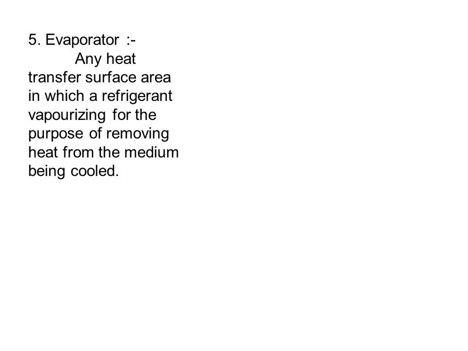 5. Evaporator :- Any heat transfer surface area in which a refrigerant vapourizing for the purpose of removing heat from the medium being cooled.