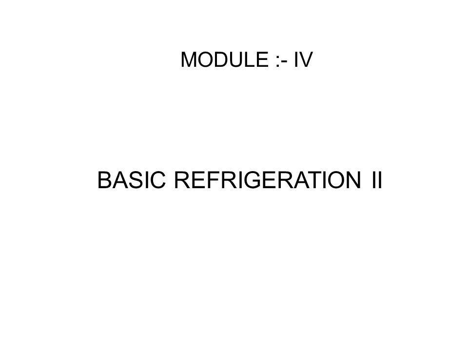 MODULE :- IV BASIC REFRIGERATION II