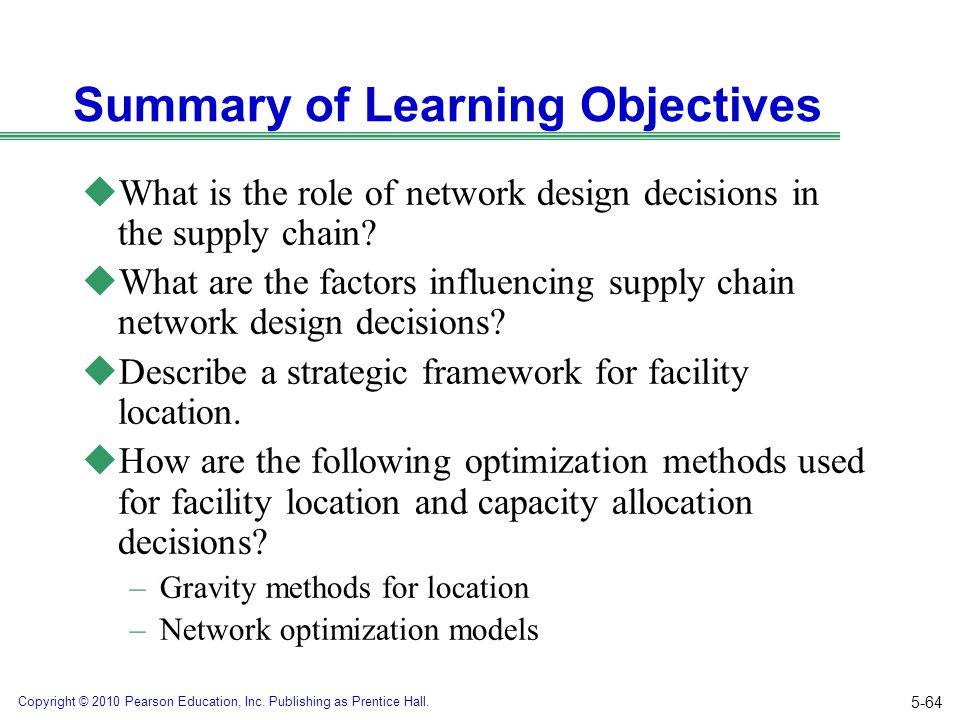 Copyright © 2010 Pearson Education, Inc. Publishing as Prentice Hall. Summary of Learning Objectives uWhat is the role of network design decisions in