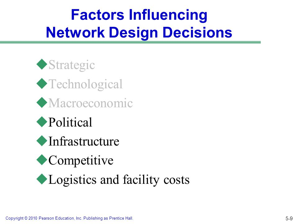 Copyright © 2010 Pearson Education, Inc. Publishing as Prentice Hall. Factors Influencing Network Design Decisions uStrategic uTechnological uMacroeco