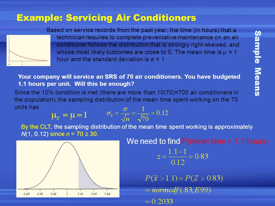 Example: Servicing Air Conditioners Based on service records from the past year, the time (in hours) that a technician requires to complete preventative maintenance on an air conditioner follows the distribution that is strongly right-skewed, and whose most likely outcomes are close to 0.