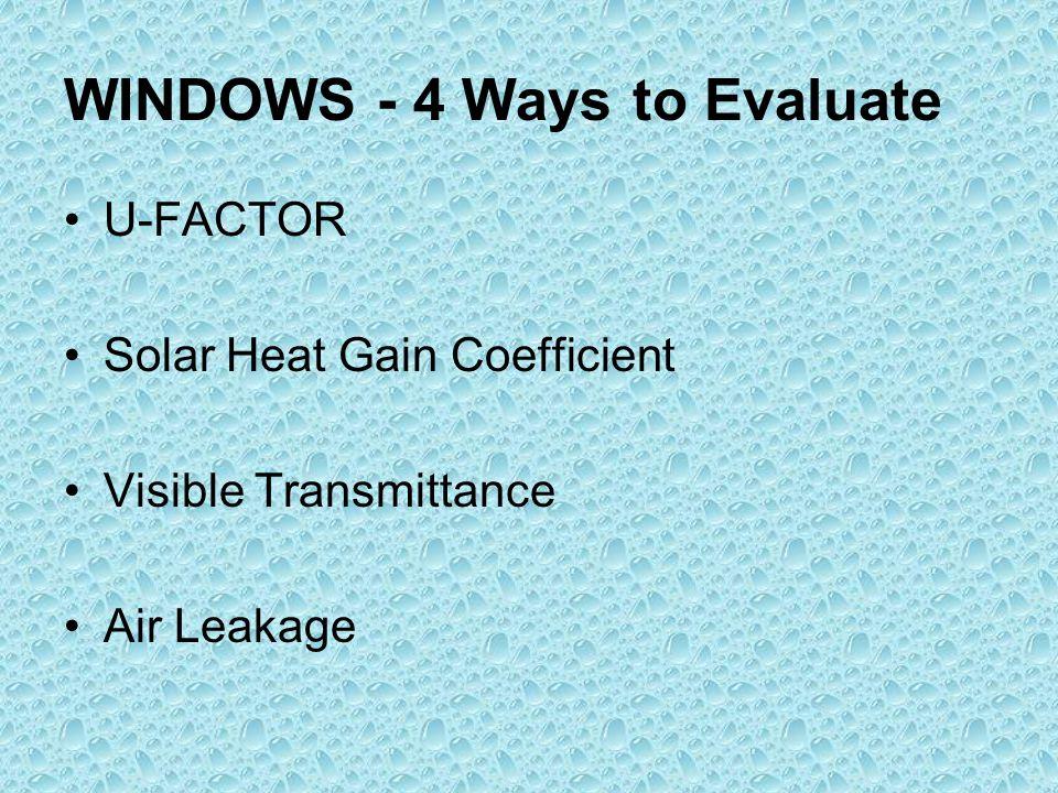 WINDOWS - 4 Ways to Evaluate U-FACTOR Solar Heat Gain Coefficient Visible Transmittance Air Leakage