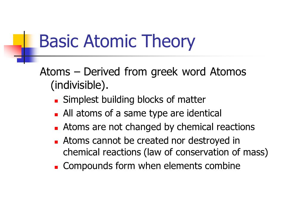 Basic Atomic Theory Atoms – Derived from greek word Atomos (indivisible).