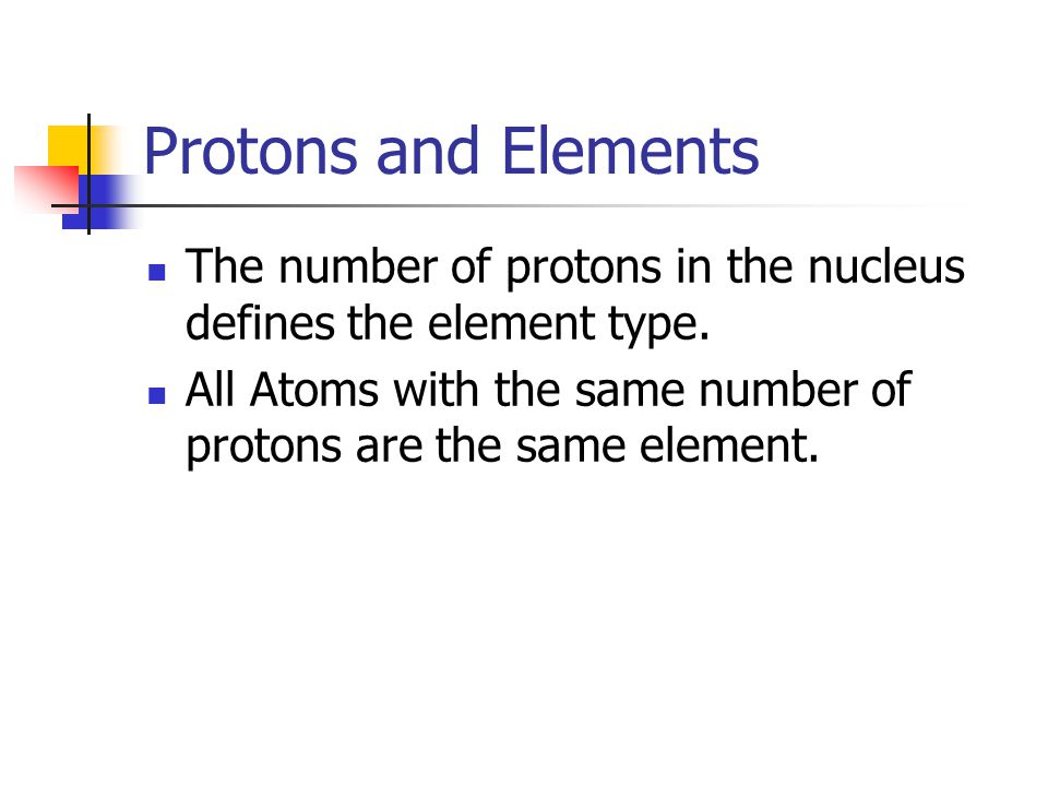 Protons and Elements The number of protons in the nucleus defines the element type.