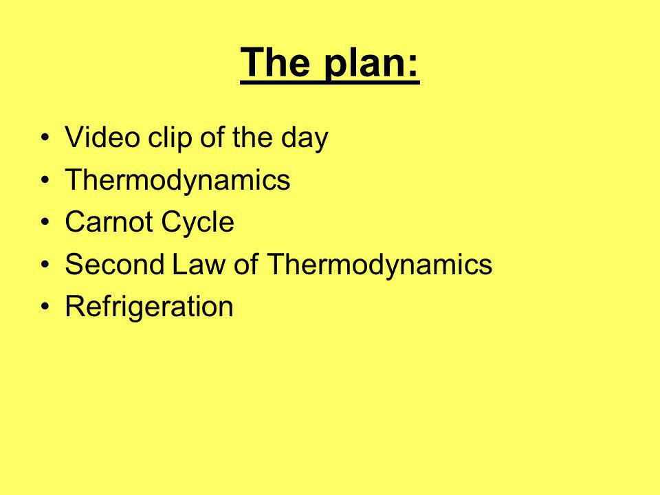 The plan: Video clip of the day Thermodynamics Carnot Cycle Second Law of Thermodynamics Refrigeration