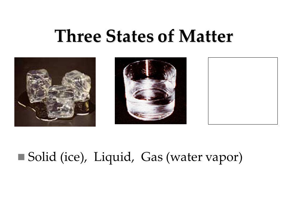 Three States of Matter Solid (ice), Liquid, Gas (water vapor)