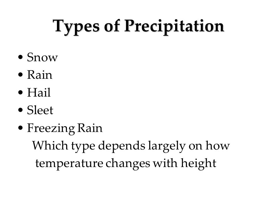 Types of Precipitation Snow Rain Hail Sleet Freezing Rain Which type depends largely on how temperature changes with height