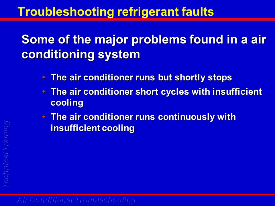 Troubleshooting refrigerant faults Some of the major problems found in a air conditioning system The air conditioner runs but shortly stopsThe air con