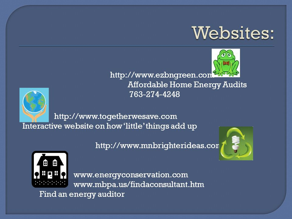 http://www.ezbngreen.com http://www.togetherwesave.com Interactive website on how little things add up Affordable Home Energy Audits 763-274-4248 http