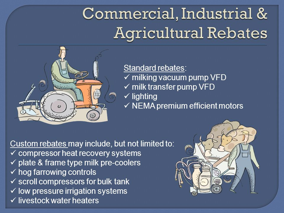 Standard rebates: milking vacuum pump VFD milk transfer pump VFD lighting NEMA premium efficient motors Custom rebates may include, but not limited to: compressor heat recovery systems plate & frame type milk pre-coolers hog farrowing controls scroll compressors for bulk tank low pressure irrigation systems livestock water heaters