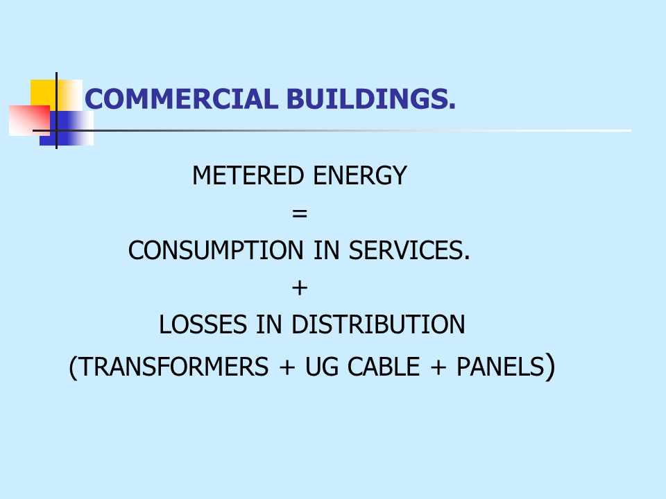 COMMERCIAL BUILDINGS. METERED ENERGY = CONSUMPTION IN SERVICES. + LOSSES IN DISTRIBUTION (TRANSFORMERS + UG CABLE + PANELS )