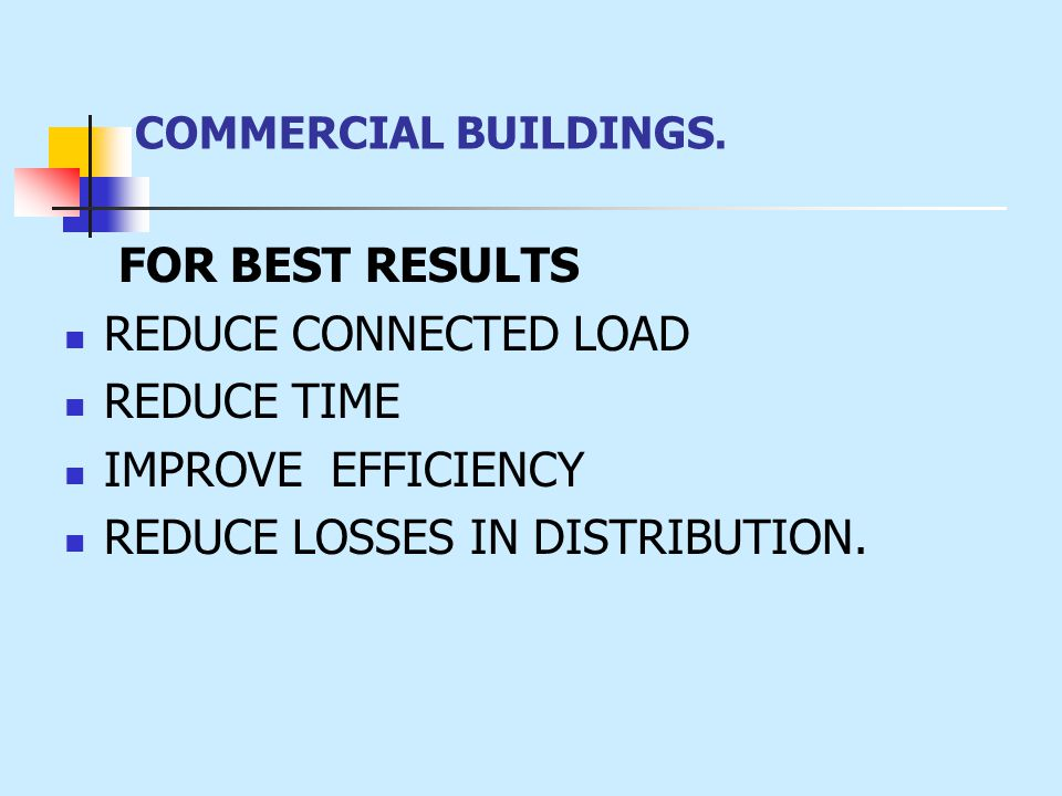 FOR BEST RESULTS REDUCE CONNECTED LOAD REDUCE TIME IMPROVE EFFICIENCY REDUCE LOSSES IN DISTRIBUTION.