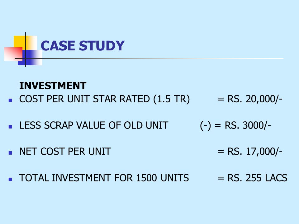 INVESTMENT COST PER UNIT STAR RATED (1.5 TR) = RS. 20,000/- LESS SCRAP VALUE OF OLD UNIT (-) = RS. 3000/- NET COST PER UNIT = RS. 17,000/- TOTAL INVES
