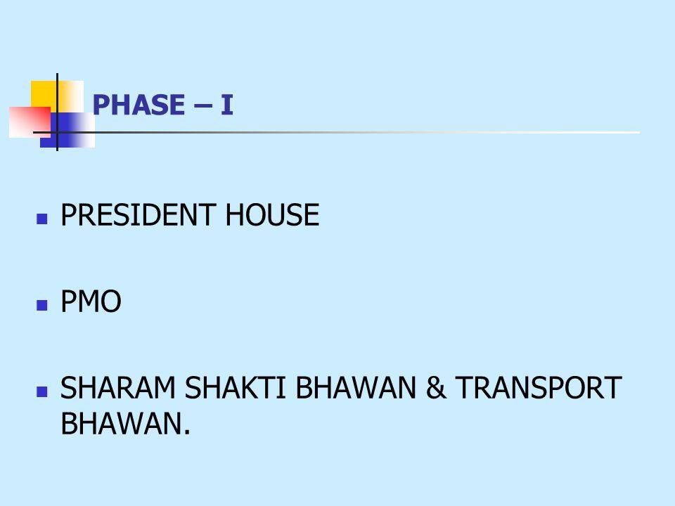 PHASE – I PRESIDENT HOUSE PMO SHARAM SHAKTI BHAWAN & TRANSPORT BHAWAN.