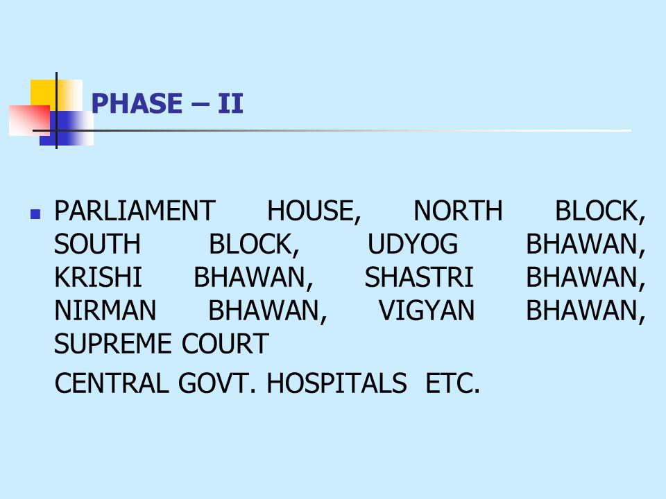 PHASE – II PARLIAMENT HOUSE, NORTH BLOCK, SOUTH BLOCK, UDYOG BHAWAN, KRISHI BHAWAN, SHASTRI BHAWAN, NIRMAN BHAWAN, VIGYAN BHAWAN, SUPREME COURT CENTRAL GOVT.