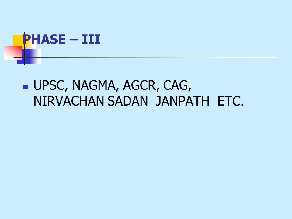 PHASE – III UPSC, NAGMA, AGCR, CAG, NIRVACHAN SADAN JANPATH ETC.