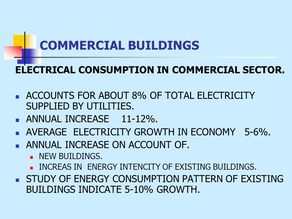 ELECTRICAL CONSUMPTION IN COMMERCIAL SECTOR. ACCOUNTS FOR ABOUT 8% OF TOTAL ELECTRICITY SUPPLIED BY UTILITIES. ANNUAL INCREASE 11-12%. AVERAGE ELECTRI