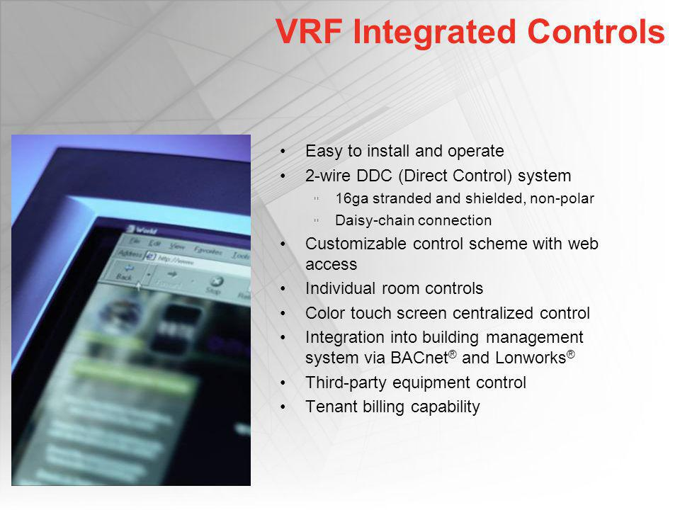 VRF Integrated Controls Easy to install and operate 2-wire DDC (Direct Control) system 16ga stranded and shielded, non-polar Daisy-chain connection Cu
