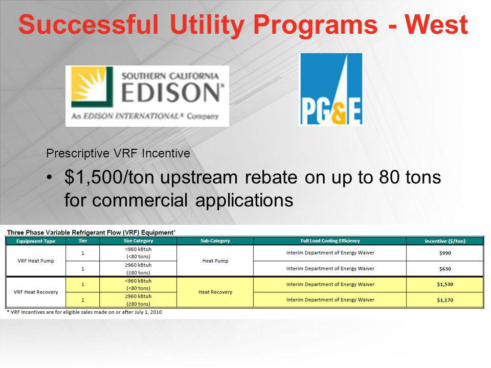 Successful Utility Programs - West Prescriptive VRF Incentive $1,500/ton upstream rebate on up to 80 tons for commercial applications