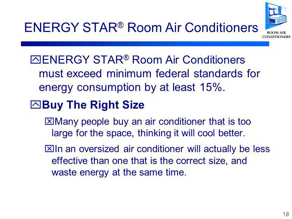 17 ENERGY STAR ® Room Air Conditioners yAir is cooled when it passes over the refrigerant coils which have fins, similar to an automobile radiator.